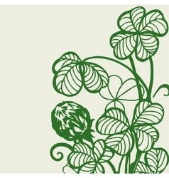 Flowers and clover leaves vector image