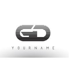 gd g d black and white horizontal stripes letter vector image