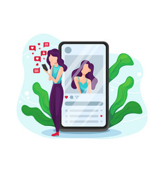 girl addicted to social media and online feedback vector image
