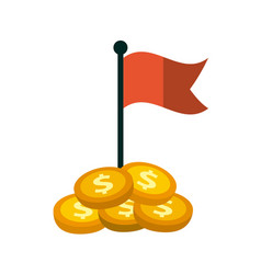 Gold coins and red flag vector