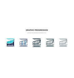 Graphic progression icon in different style two vector