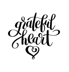 Grateful heart black and white handwritten vector
