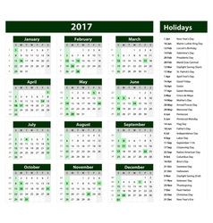 Green Calendar 2017 template vector image