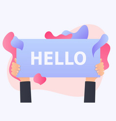 hand holding hello banner vector image