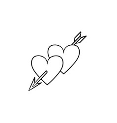 hearts with cupid arrow hand drawn sketch icon vector image