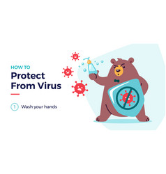 How to protect from virus with a cute bear vector