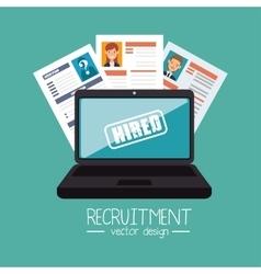 Laptop curriculum recruitment design vector