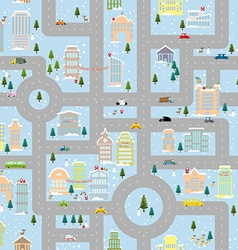 Large winter Christmas town Metropolis with office vector