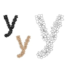 Letter Y with floral motif elements vector image