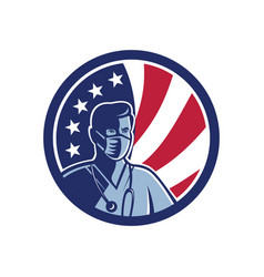 Male nurse wearing surgical mask usa flag mascot vector