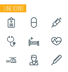 medicine icons line style set with stethoscope vector image