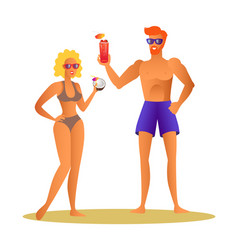 merry couple at summer drinking cocktail man woman vector image
