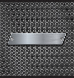 Metal plate on iron perforated background vector