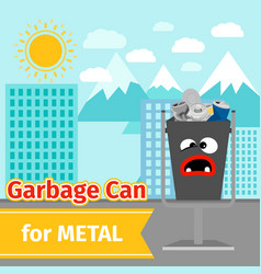 metal trash can with monster face vector image
