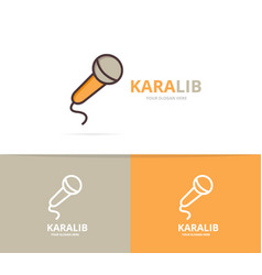 microphone logo unique karaoke and vector image