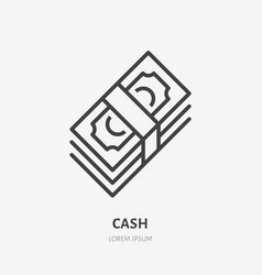 money flat line icon cash paper currency sign vector image