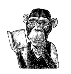 Monkey hipster is reading a book vintage black vector
