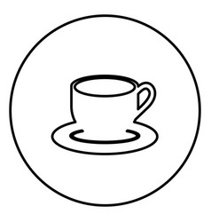 monochrome contour circular frame with coffee cup vector image