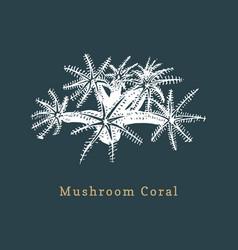 Mushroom coral drawing of sea vector