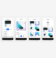 music player app mobile application interface vector image