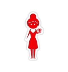 Paper sticker on white background girl gift vector