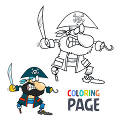 pirate cartoon coloring page vector image