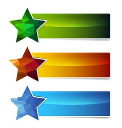 polygonal star banner set vector image