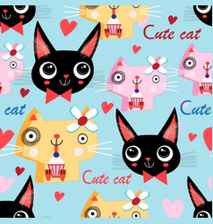 portrait funny cat in love vector image