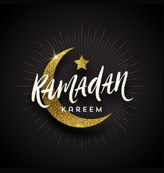 ramadan kareem greeting card - brush calligraphy vector image