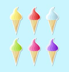 retro flat ice cream icons on pale blue background vector image