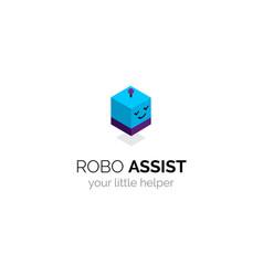 Robot funny mascot logo isometric design vector