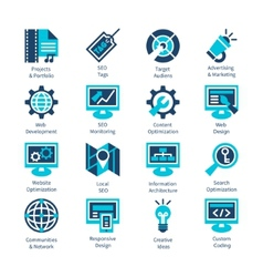 SEO and internet optimization icon set Isolated vector