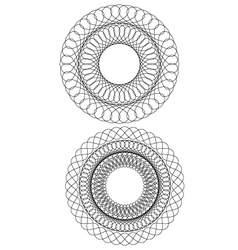 Set of 2 circular guilloche vector