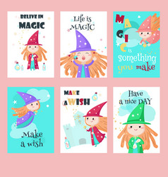 set of cards with cute little enchantresses vector image