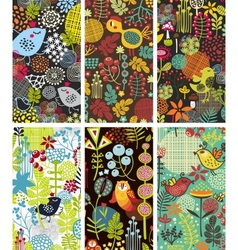 Set of six cards with birds and flowers vector
