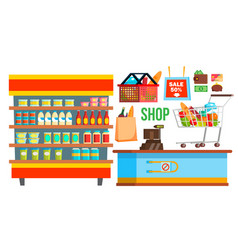 shopping mall supermarket shopping bags vector image