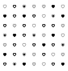 simple pattern with different cute hearts good vector image