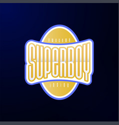 sport emblem typography super boy hero logotype vector image