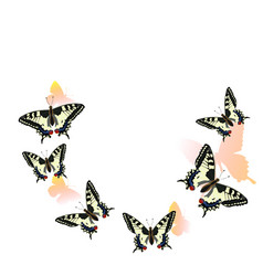 swallowtail butterflies flying in a circle vector image