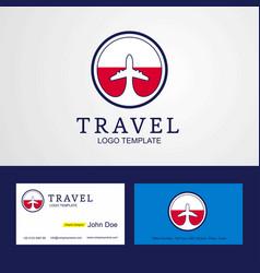 Travel poland creative circle flag logo and vector