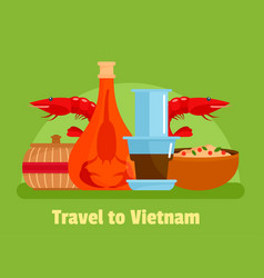 Vietnam food background flat style vector