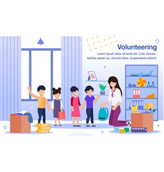 volunteering in orphanage flat banner vector image