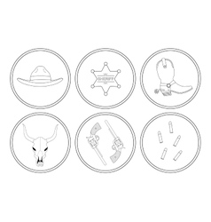 Wild west contour lines objects set vector image