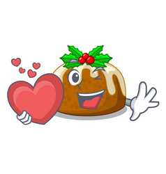 With heart christmas pudding on dinning table vector