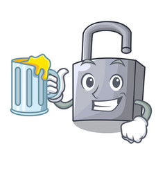 With juice unlocking padlock on the cartoon gate vector