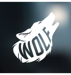 Wolf silhouette with concept text inside on blur vector
