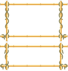 Wooden frame of bamboo sticks swathed in rope vector