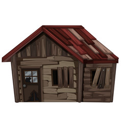 wooden house with very bad condition vector image
