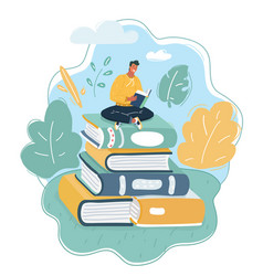 young man sitting on big books stack vector image