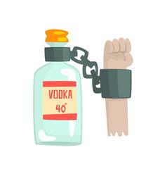 bottle of vodka with shackles bad habit vector image vector image